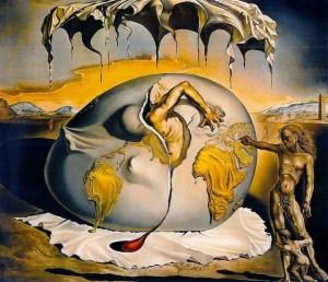 Niño geopolítico observando el nacimiento del hombre nuevo, pintado por Salvador Dalí en 1943